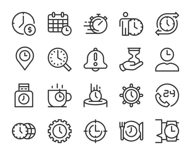 zarządzanie czasem - ikony linii - czas stock illustrations