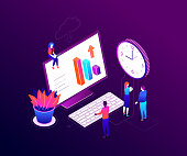 Time management - modern colorful isometric vector illustration on purple background. A composition with business team, male, female colleagues, big clock, computer with keyboard, diagrams, cloud