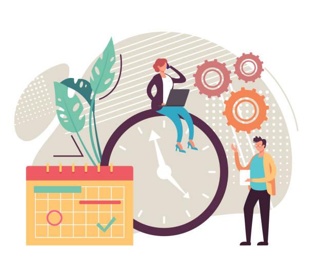 Time management office team working concept. Vector flat graphic design cartoon illustration vector art illustration