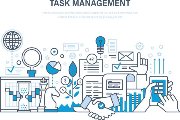 Time management, planning, analysis, research, marketing strategy and business strategy vector art illustration