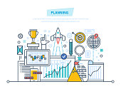 Time management, planning business objectives and results, analysis, statistics, research, financial strategy and analytics. Illustration thin line design of vector doodles, infographics elements.