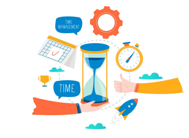 Time management, planning events and business organization vector art illustration
