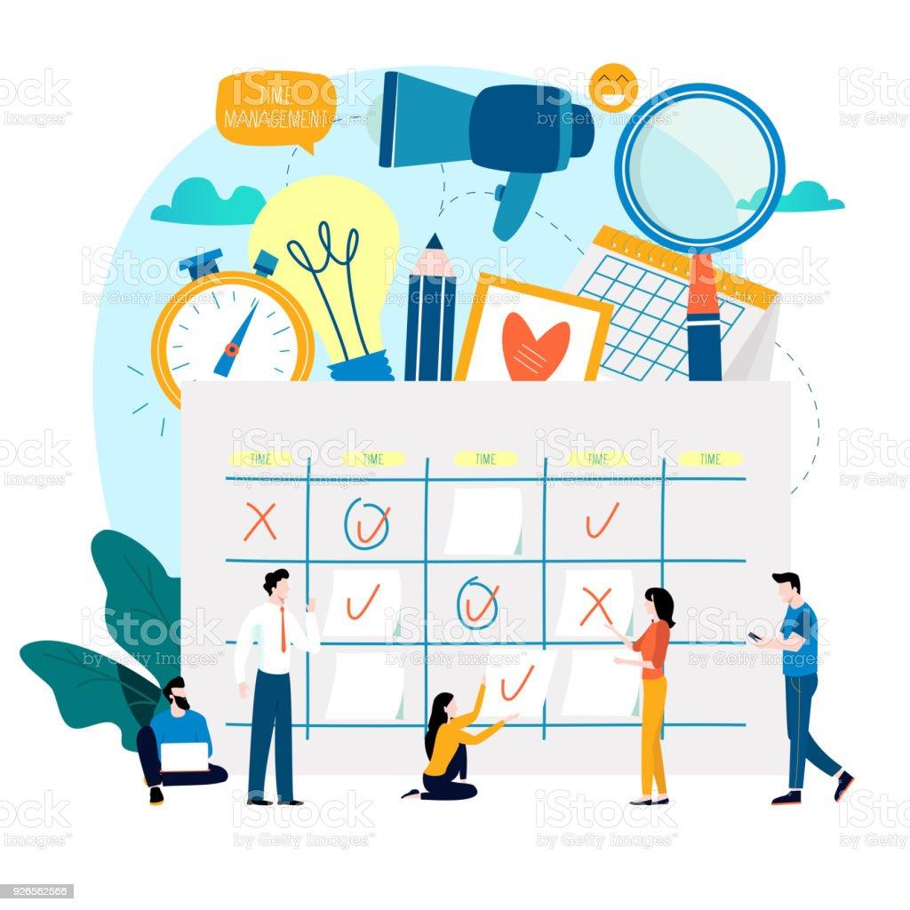 Time management, planning events, organization, time optimization vector art illustration
