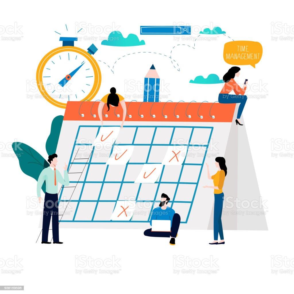 Time management, planning events, organization, time optimization, deadline, planning schedule vector art illustration