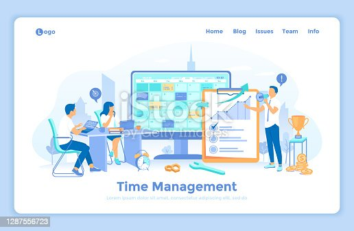 Time Management, planning schedule. Organization of working time. A business team distributed priority tasks for success project. landing web page design template decorated with people characters.