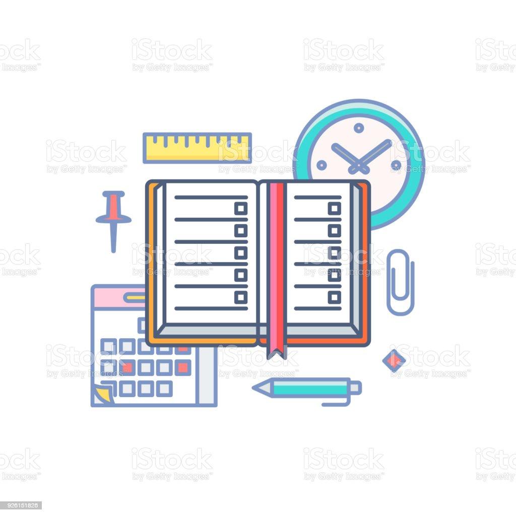 時間管理ベクトル イラストいっぱいのアウトラインのスタイルを計画