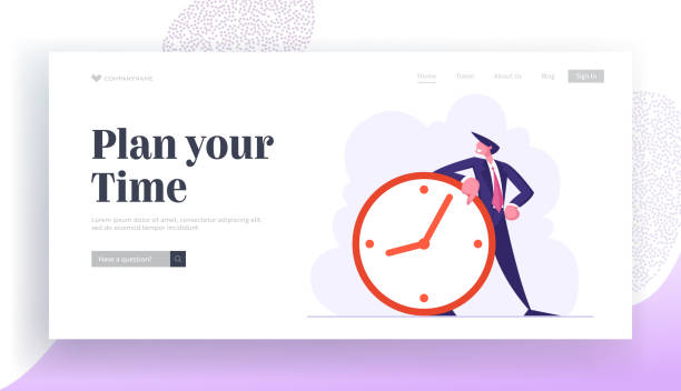 Time Management, Procrastination in Business Process Website Landing Page. Businessman Stand at Huge Clock. Working Productivity Planning, Scheduling Web Page Banner. Cartoon Flat Vector Illustration Time Management, Procrastination in Business Process Website Landing Page. Businessman Stand at Huge Clock. Working Productivity Planning, Scheduling Web Page Banner. Cartoon Flat Vector Illustration human limb stock illustrations