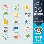 Time management related icons set, Vector Illustrations stickers and paper cut style, Easy to editable and change, Separate background, Expand to any size, Change to any colour.