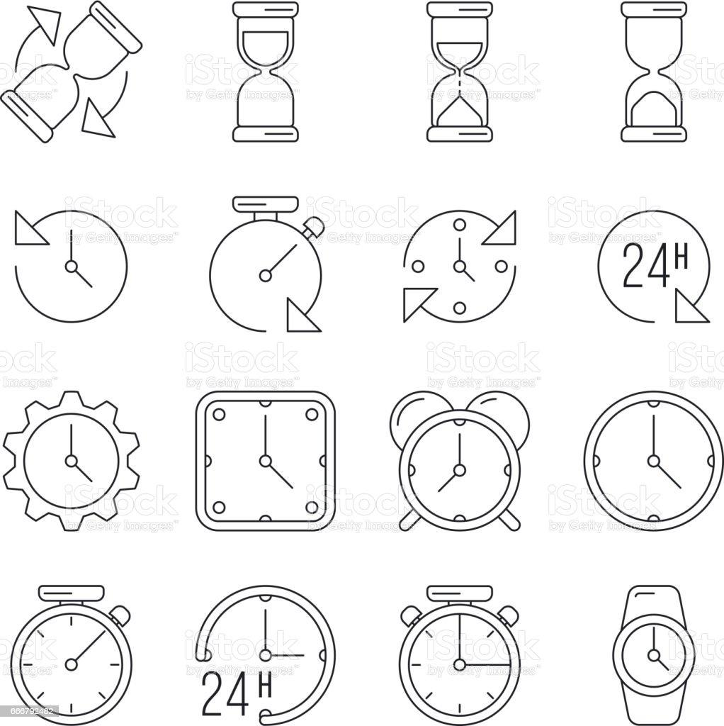 Time management, sand clock, 24 hours thin line vector set vector art illustration