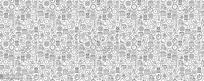 istock Time Management Seamless Pattern and Background with Line Icons 1201849209