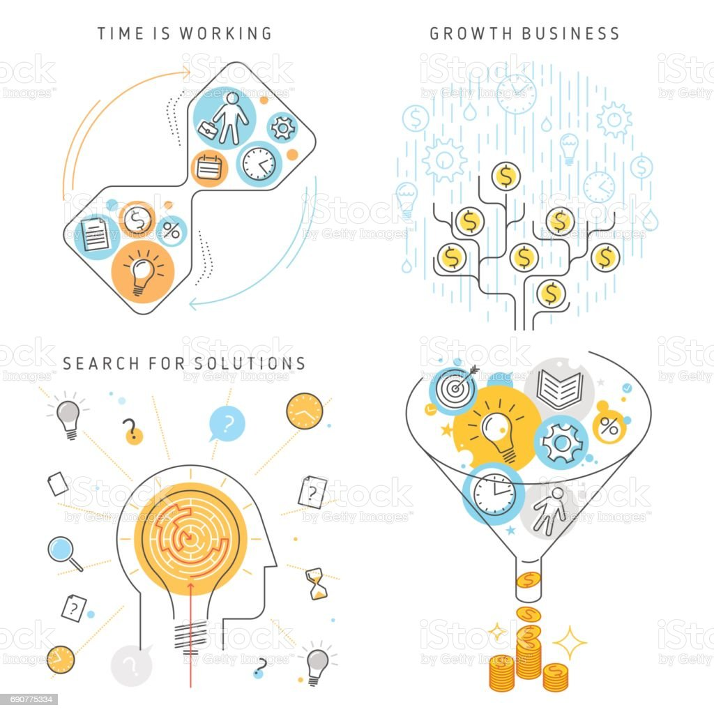 Time Management, Search for solutions, Growth Business concept vector illustrations. vector art illustration