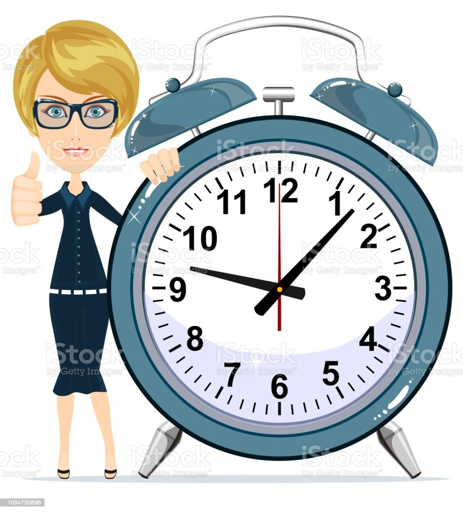 Time Management Smiling Cartoon Businesswoman With Alarm Clocks Symbolizing Time Management Stock Flat Vector Illustration Stock Illustration Download Image Now Istock
