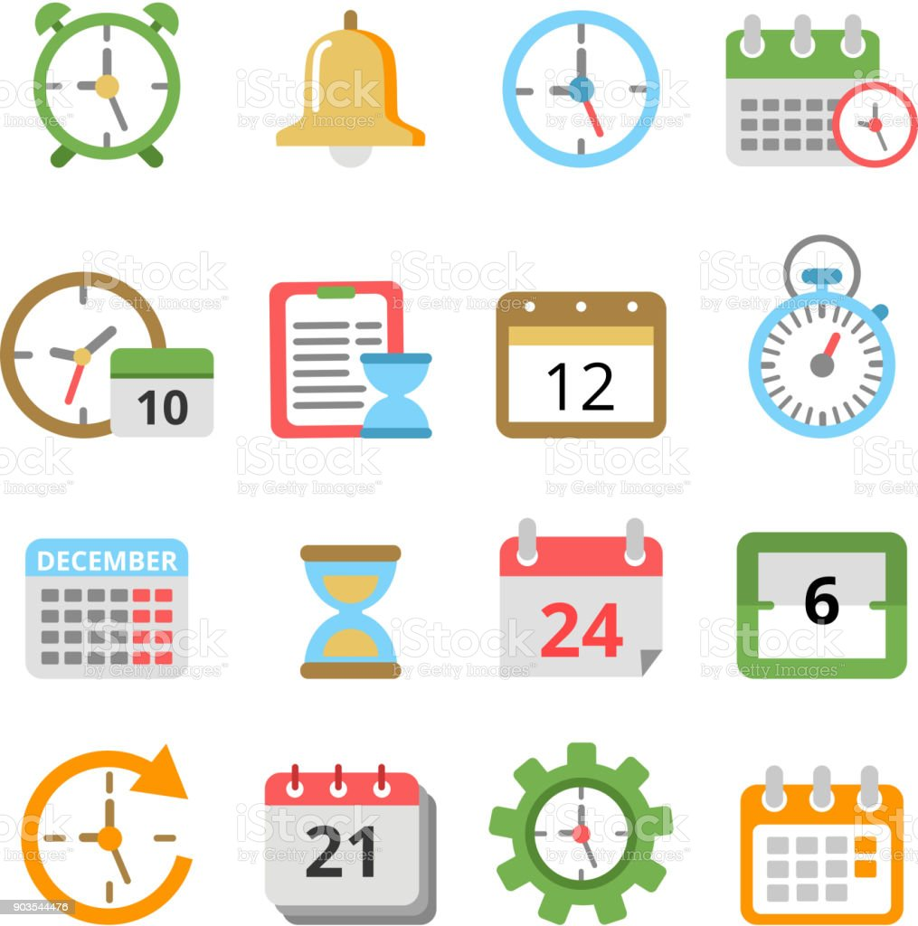 time management symbols calendars reminders planners and other