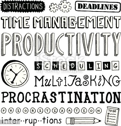 A variety of hand-drawn doodled text of time management concepts.