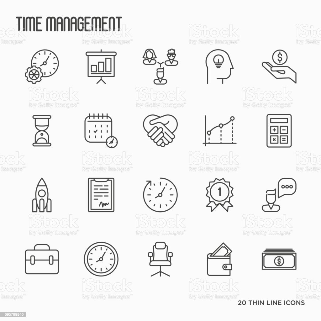 Time management thin line icons. Development of business process. Vector illustration. vector art illustration