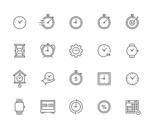 seria thin line zarządzania czasem - czas stock illustrations