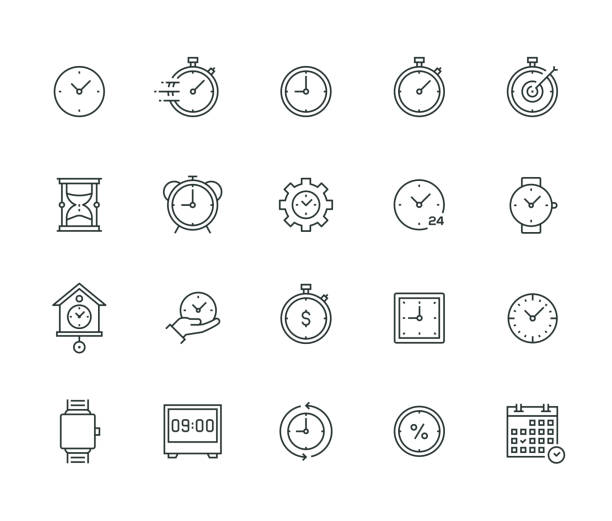 Time Management Thin Line Series vector art illustration