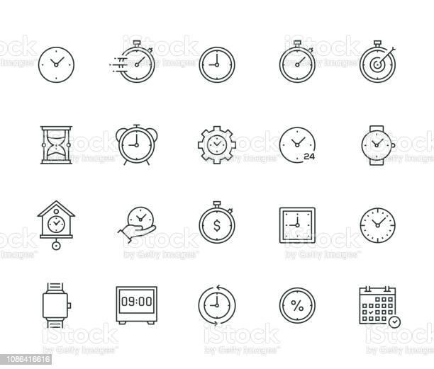 Ilustración de Serie De Delgada Línea De Gestión De Tiempo y más Vectores Libres de Derechos de Alarma