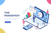 Time management banner with character and text place. Can use for web banner, infographics, hero images. Flat isometric vector illustration isolated on white background.