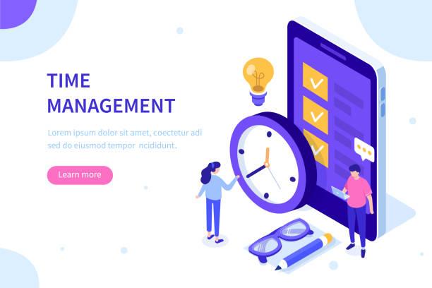 illustrazioni stock, clip art, cartoni animati e icone di tendenza di time management - time