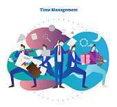 Time management vector illustration. Man try to be in time everywhere. Sleep, meeting, business, work or eating. Symbol of busy, stressful life and organization skill. Calculator, bulb and gear icons.