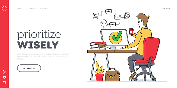 Time Management, Work Productivity Landing Page Template. Business Working Process Organization Concept