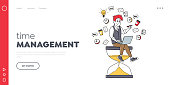 Time Management, Working Productivity Landing Page Template. Tiny Businessman Character Sitting on Huge Hourglass with Laptop in Hands. Deadline, Business Work Process. Linear Vector Illustration
