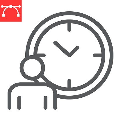 Time managment line icon, person with clock and deadline, working hours vector icon, vector graphics, editable stroke outline sign, eps 10.