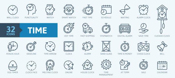 illustrazioni stock, clip art, cartoni animati e icone di tendenza di tempo - set minimo di icone web a linea sottile. raccolta icone contorno. illustrazione vettoriale semplice - aspettare