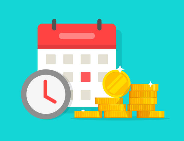 Time money savings vector, flat cartoon timer or clock with lots of loan or credit cash and calendar date, financial waiting or transaction payment deadline, time save success modern image vector art illustration