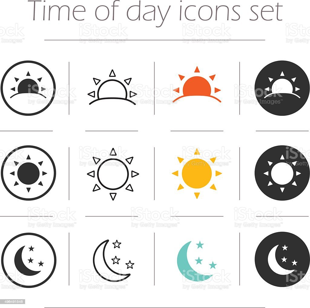 Time of the day simple icons set vector art illustration
