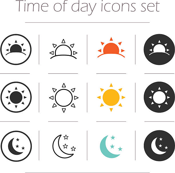 Time of the day simple icons set Time of the day simple icons set. Sunrise, sun, sunshine, moon and stars linear, color and silhouette vector symbols isolated on white  dusk stock illustrations