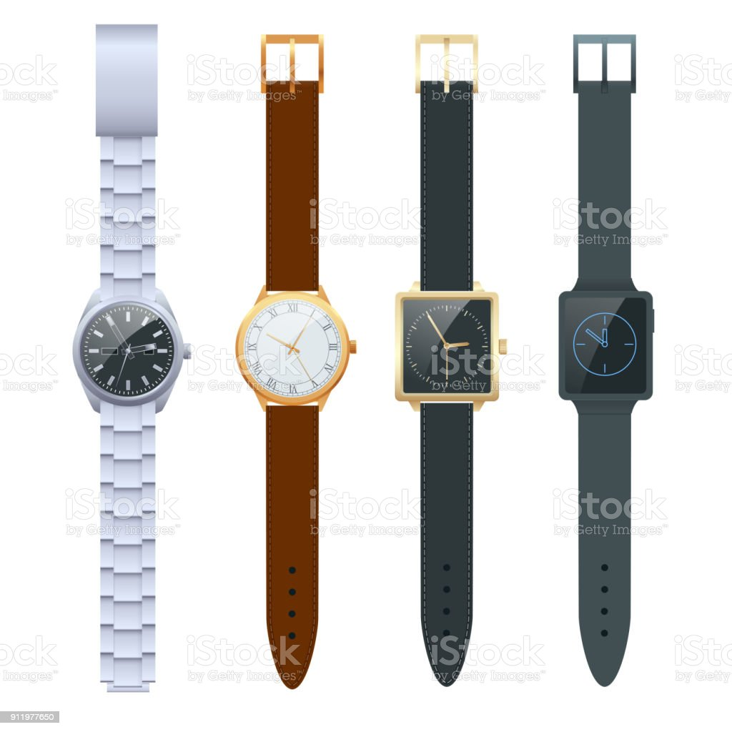 Time on a wrist watch. Vector Set of men s watches. Classic watches isolated on white vector set. vector art illustration