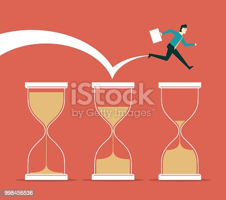 Businessman and time. Concept business illustration.