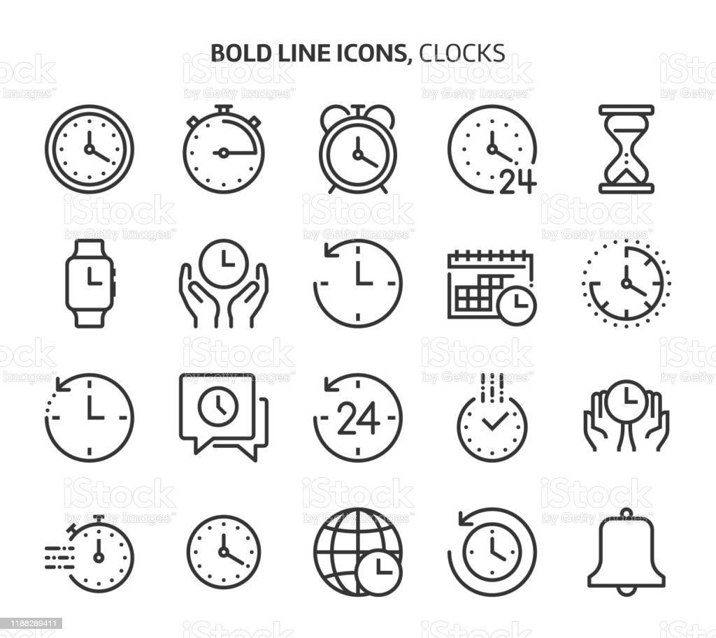 Ensemble d'icônes de ligne audacieuse séquestre liée au temps. - clipart vectoriel de Affaires libre de droits