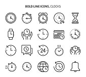 Time related bold line icon set. The set is about clock, deadline, calendar, business, management, date, 24 hours, achievement, vector, editable stroke, line, outline.