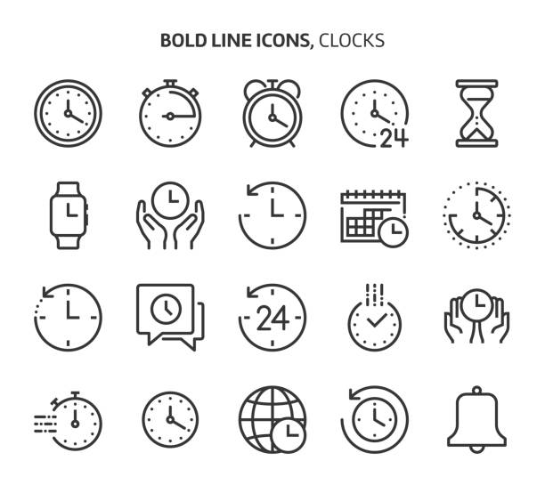 Time related bold line icon set. Time related bold line icon set. The set is about clock, deadline, calendar, business, management, date, 24 hours, achievement, vector, editable stroke, line, outline. clock stock illustrations