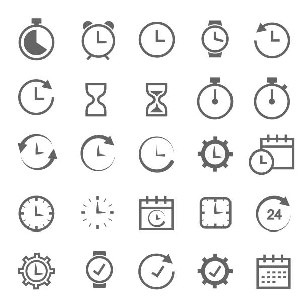 Time related icon Time related icon clock stock illustrations