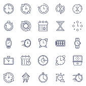 A thin line icon set of time themed icons.