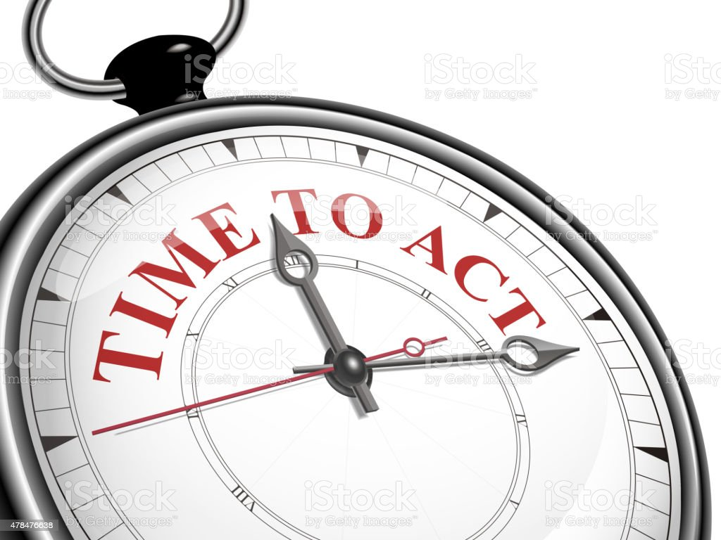 time to act concept clock vector art illustration