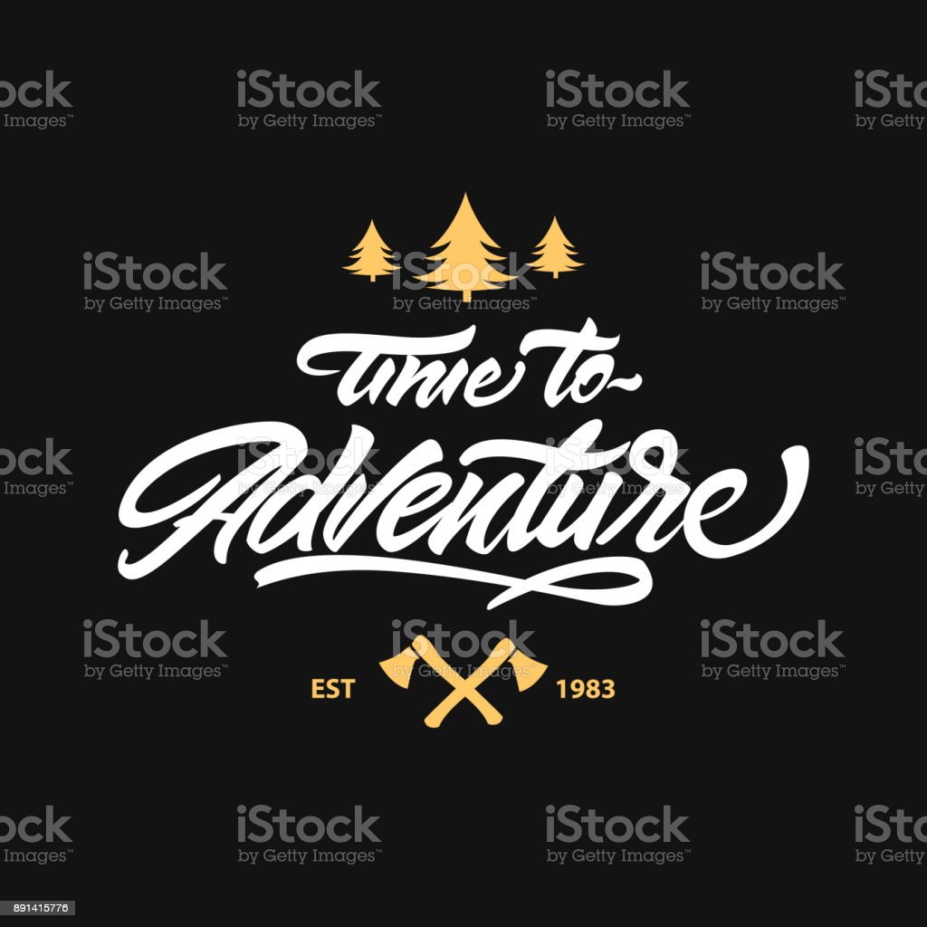 Time to adventure lettering symbol hipster symbol style lettering time to adventure lettering symbol hipster symbol style lettering with axe and tree buycottarizona Choice Image