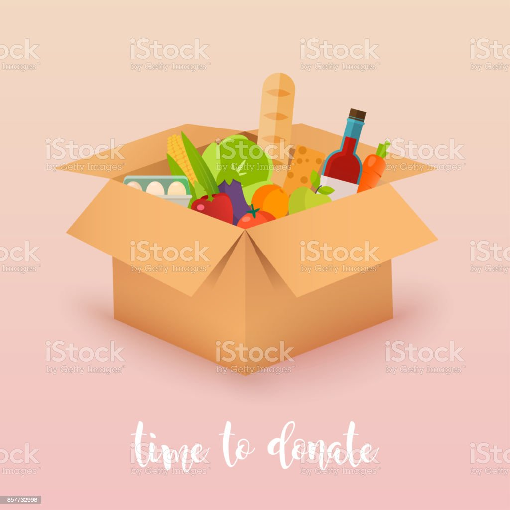 Time to donate. Food donation. Boxes full of food. Vector concept illustrations. vector art illustration
