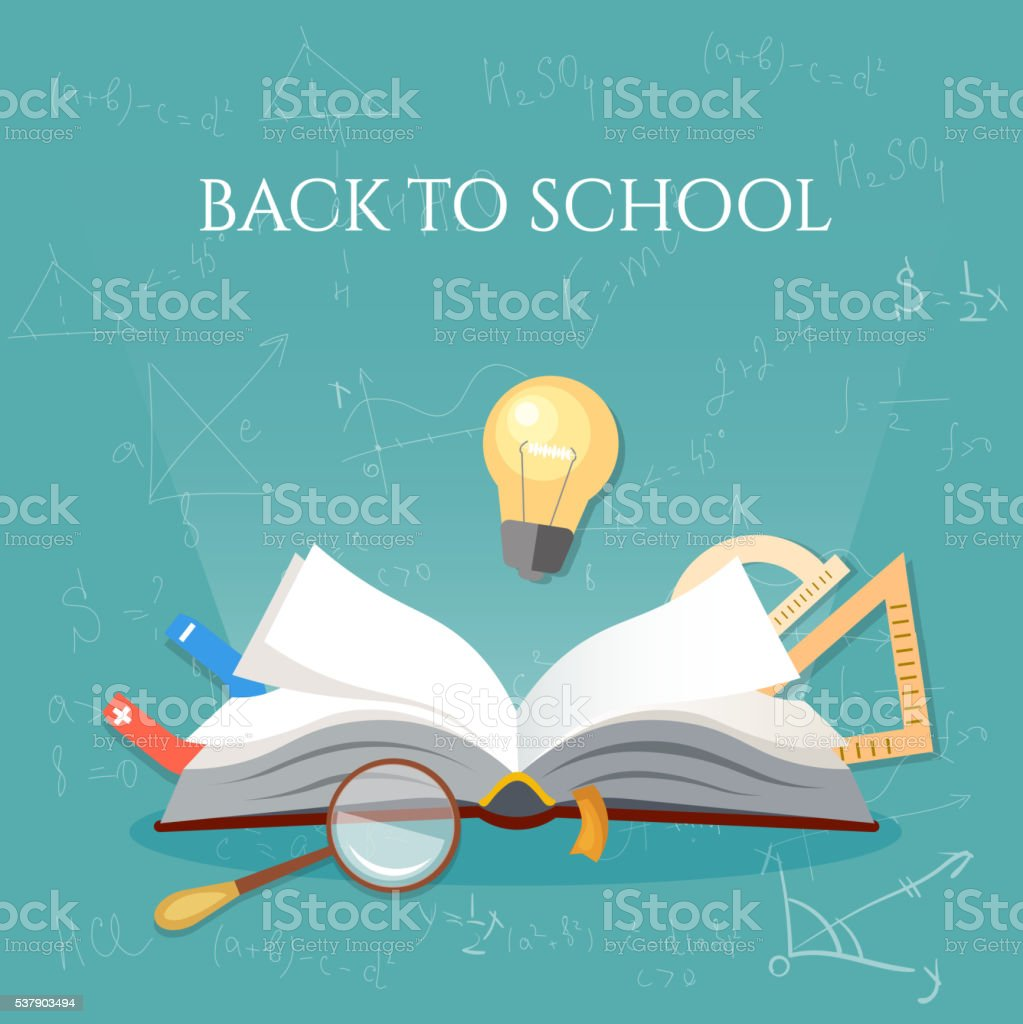 Time To Education Open Book School Subjects Stock Vector Art