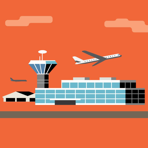 time to fly - airport stock illustrations