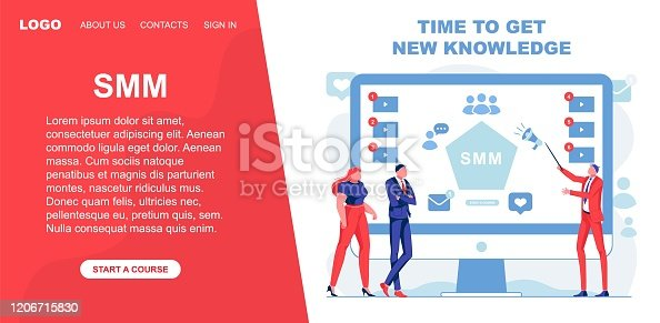 Time to Get New Knowledge about Smm, Vector Banner. Teacher with Pointer Talks about Marketing and Shows on Screen. In Presentation there Video Lessons, Information about Communication in Networks.