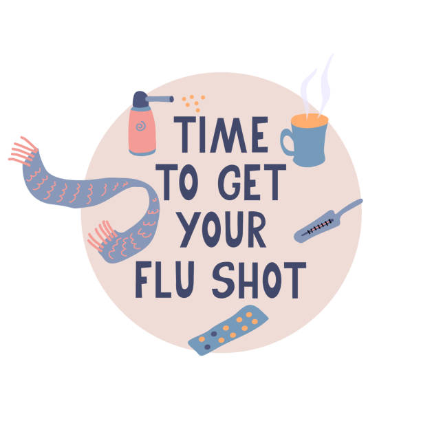 Time to get your flu shot vector poster. Time to get your flu shot. Vector poster with pills, scarf, thermometer, mug of hot tea, throat spray. Hand drawn lettering. Vector illustration. Vaccination concept. flu vaccine stock illustrations