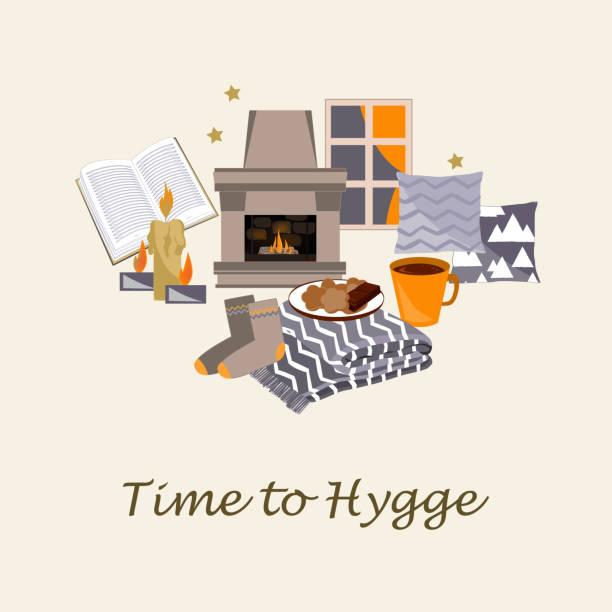 ilustrações de stock, clip art, desenhos animados e ícones de time to hygge vector illustration. cozy home - hygge