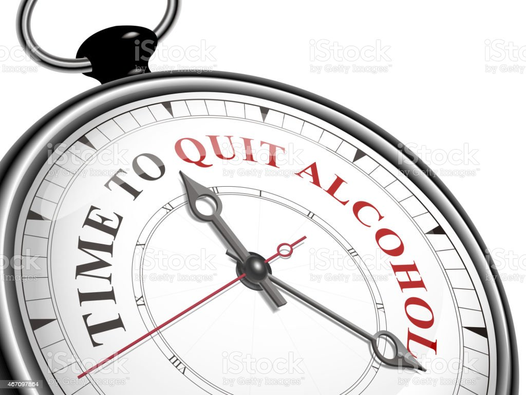 time to quit alcohol concept clock vector art illustration