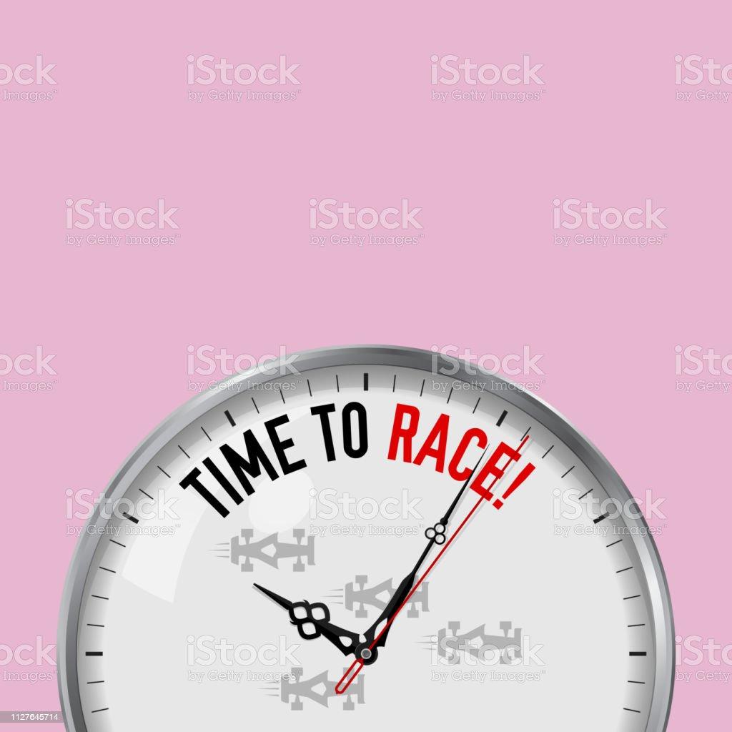 Vetores De Hora Da Corrida Relógio Branco Vector Com Slogan