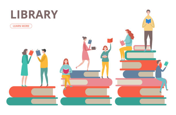 Time to read vector concept. Library, self education, students with books illustration Time to read vector concept. Library, self education, students with books illustration. Student read book, people on stack of books book backgrounds stock illustrations